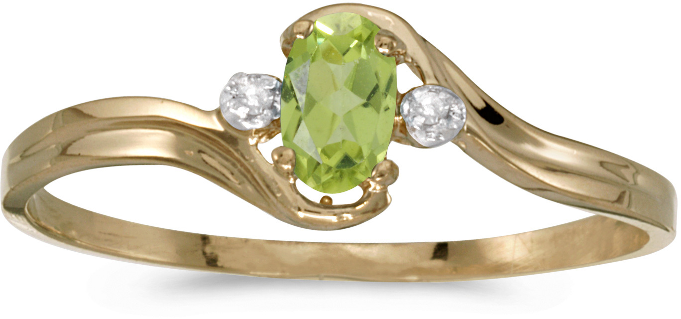 14k Yellow Gold Oval Peridot And Diamond Ring (CM-RM1678X-08)