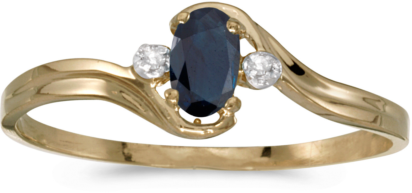14k Yellow Gold Oval Sapphire And Diamond Ring (CM-RM1678X-09)