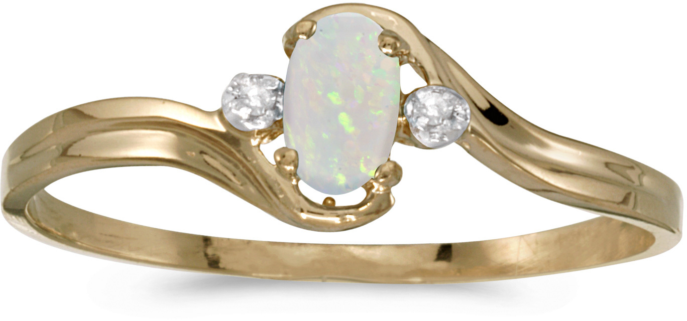 14k Yellow Gold Oval Opal And Diamond Ring (CM-RM1678X-10)