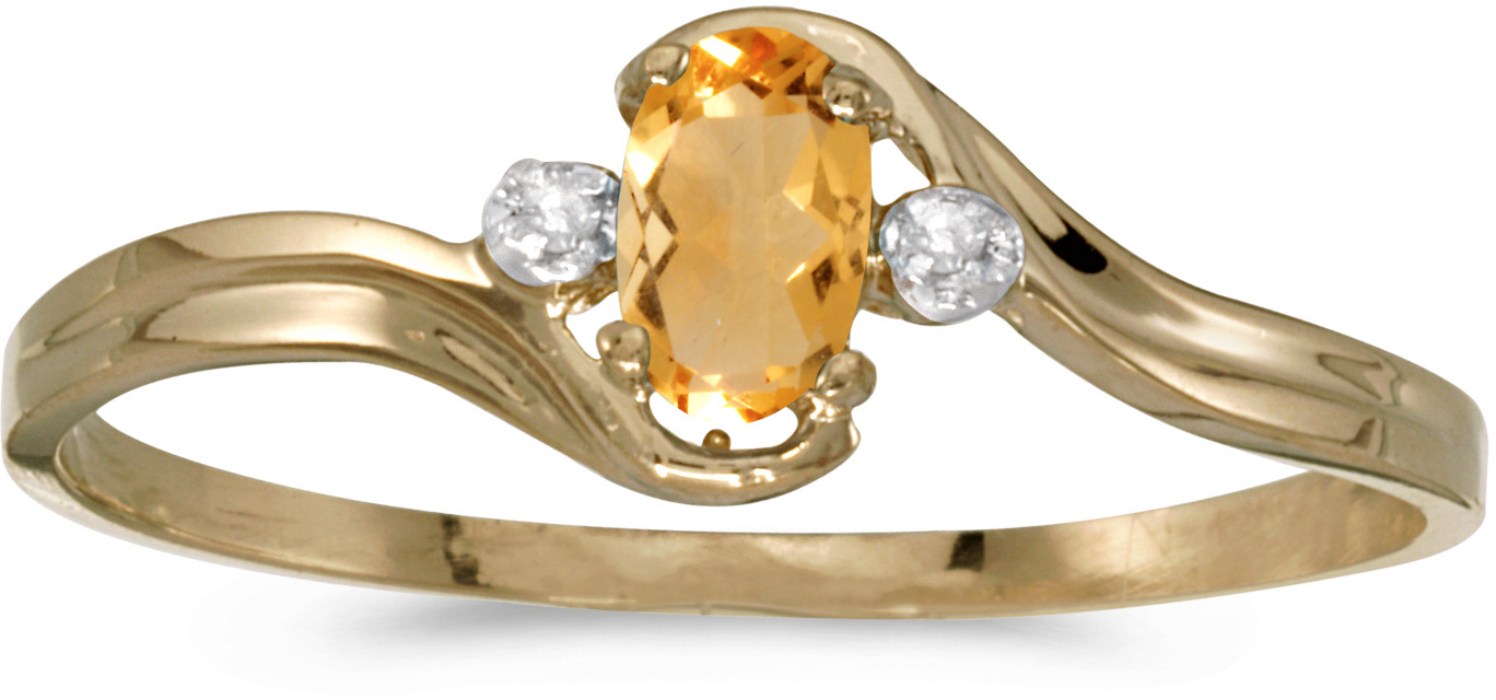 14k Yellow Gold Oval Citrine And Diamond Ring (CM-RM1678X-11)