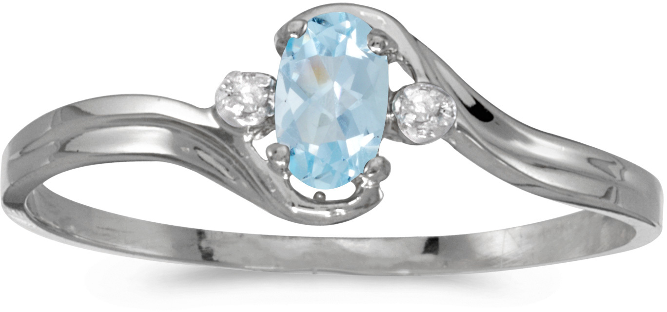 14k White Gold Oval Aquamarine And Diamond Ring (CM-RM1678XW-03)