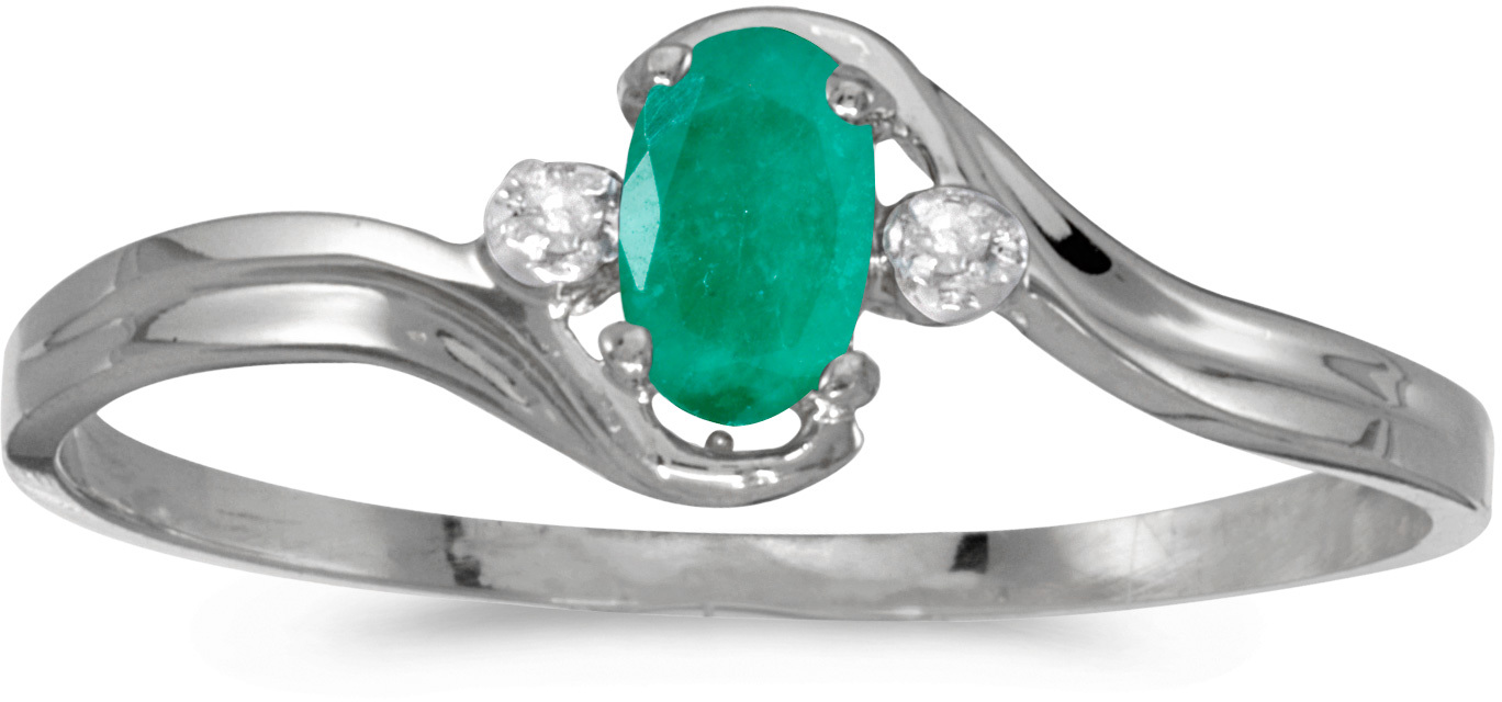 14k White Gold Oval Emerald And Diamond Ring (CM-RM1678XW-05)