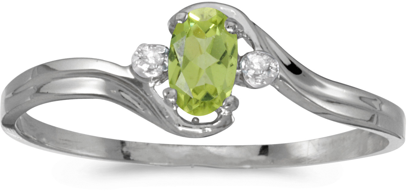 14k White Gold Oval Peridot And Diamond Ring (CM-RM1678XW-08)