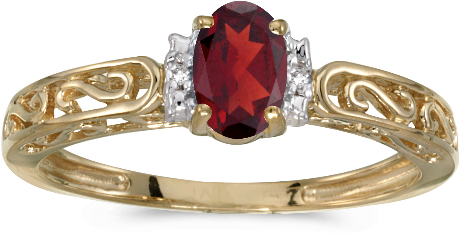 10k Yellow Gold Oval Garnet And Diamond Ring (CM-RM1689-01)