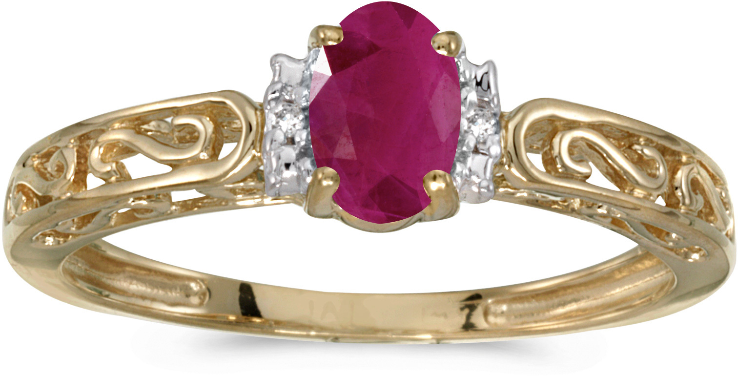 10k Yellow Gold Oval Ruby And Diamond Ring (CM-RM1689-07)