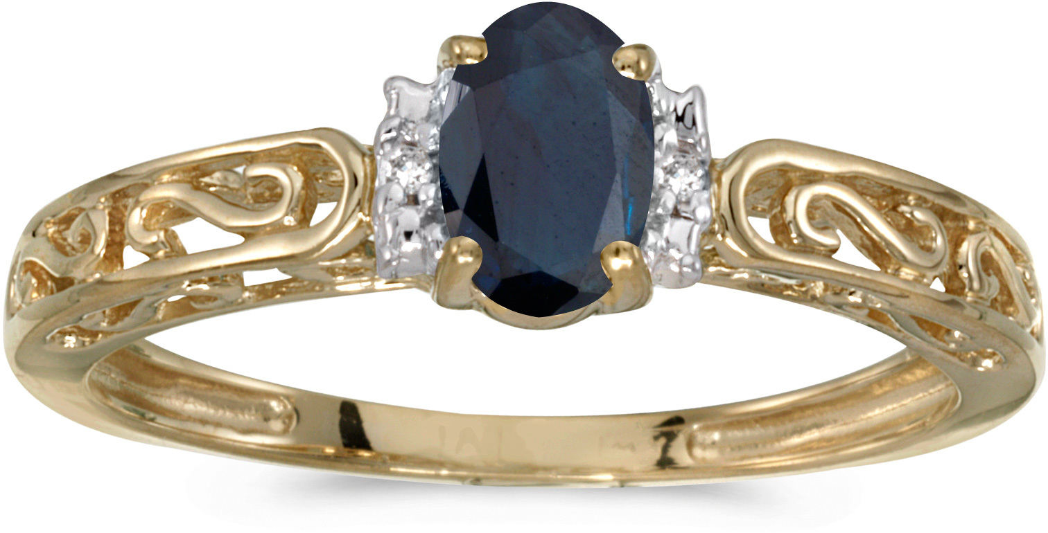 10k Yellow Gold Oval Sapphire And Diamond Ring (CM-RM1689-09)
