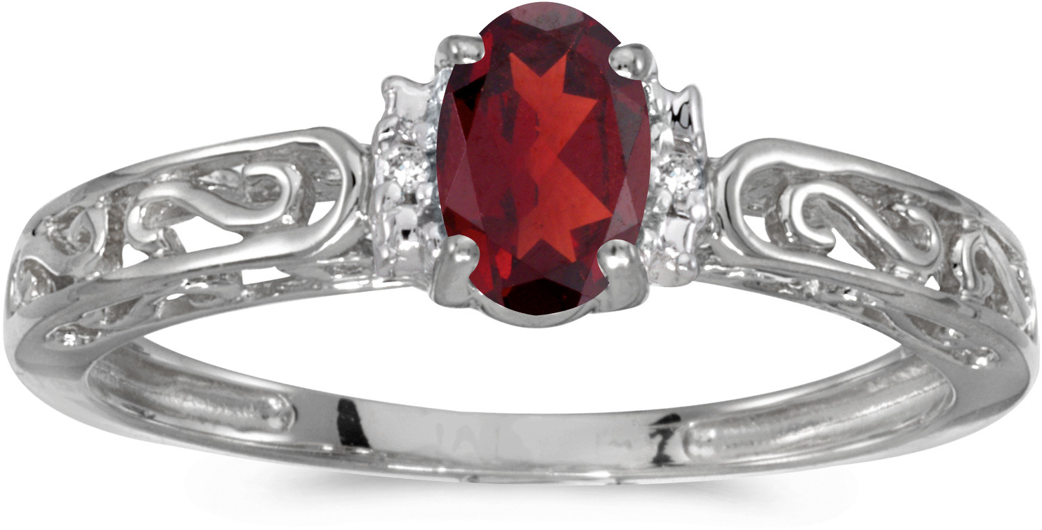 10k White Gold Oval Garnet And Diamond Ring (CM-RM1689W-01)