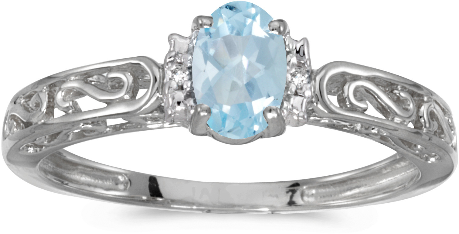 10k White Gold Oval Aquamarine And Diamond Ring (CM-RM1689W-03)