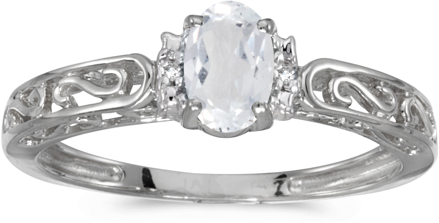 10k White Gold Oval White Topaz And Diamond Ring (CM-RM1689W-04)
