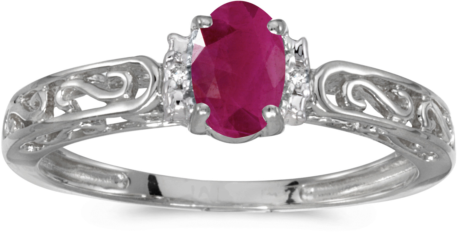 10k White Gold Oval Ruby And Diamond Ring (CM-RM1689W-07)