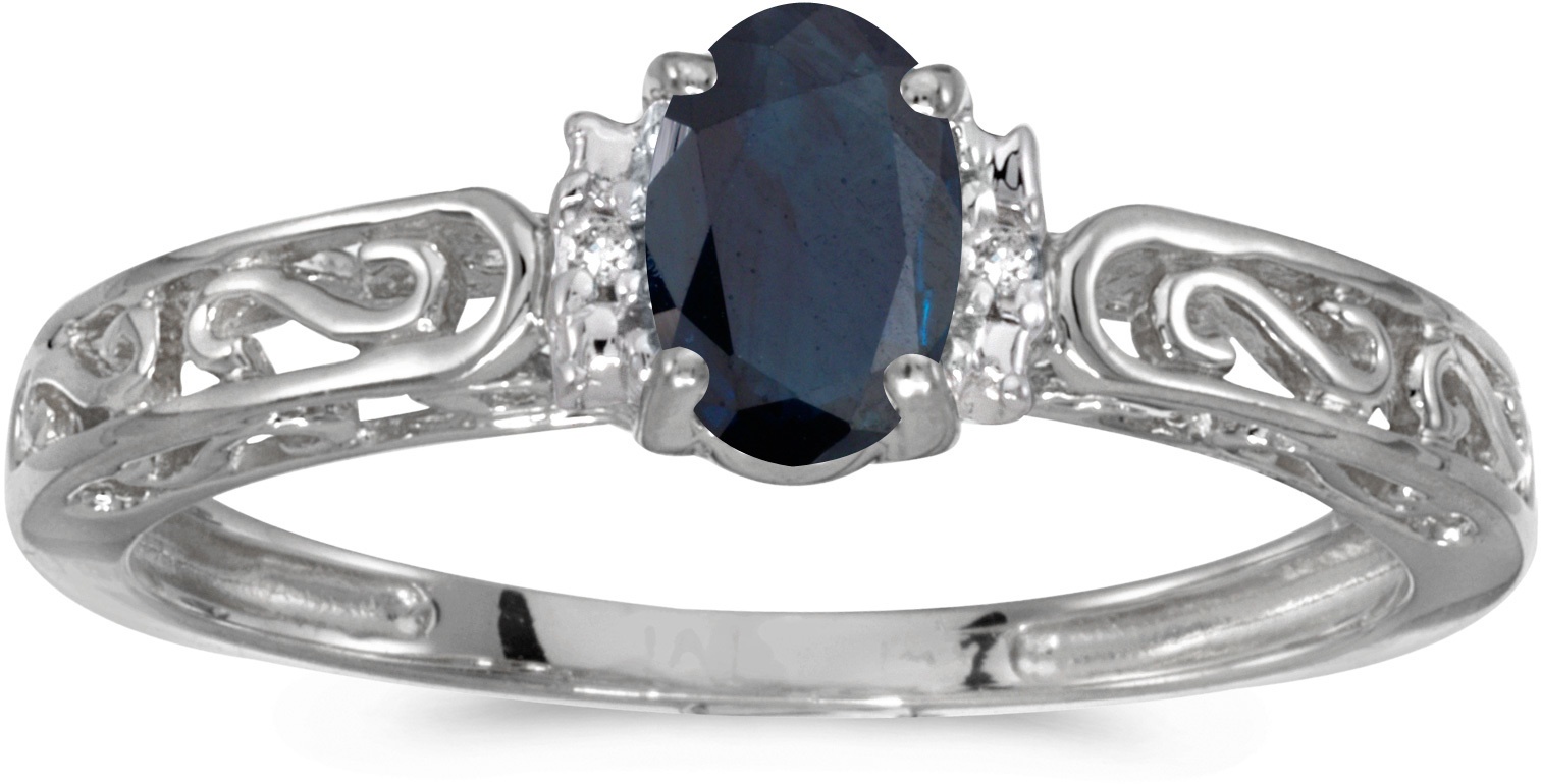 10k White Gold Oval Sapphire And Diamond Ring (CM-RM1689W-09)
