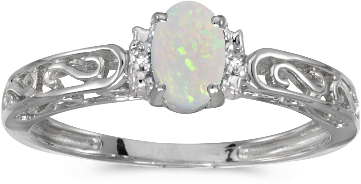 10k White Gold Oval Opal And Diamond Ring (CM-RM1689W-10)