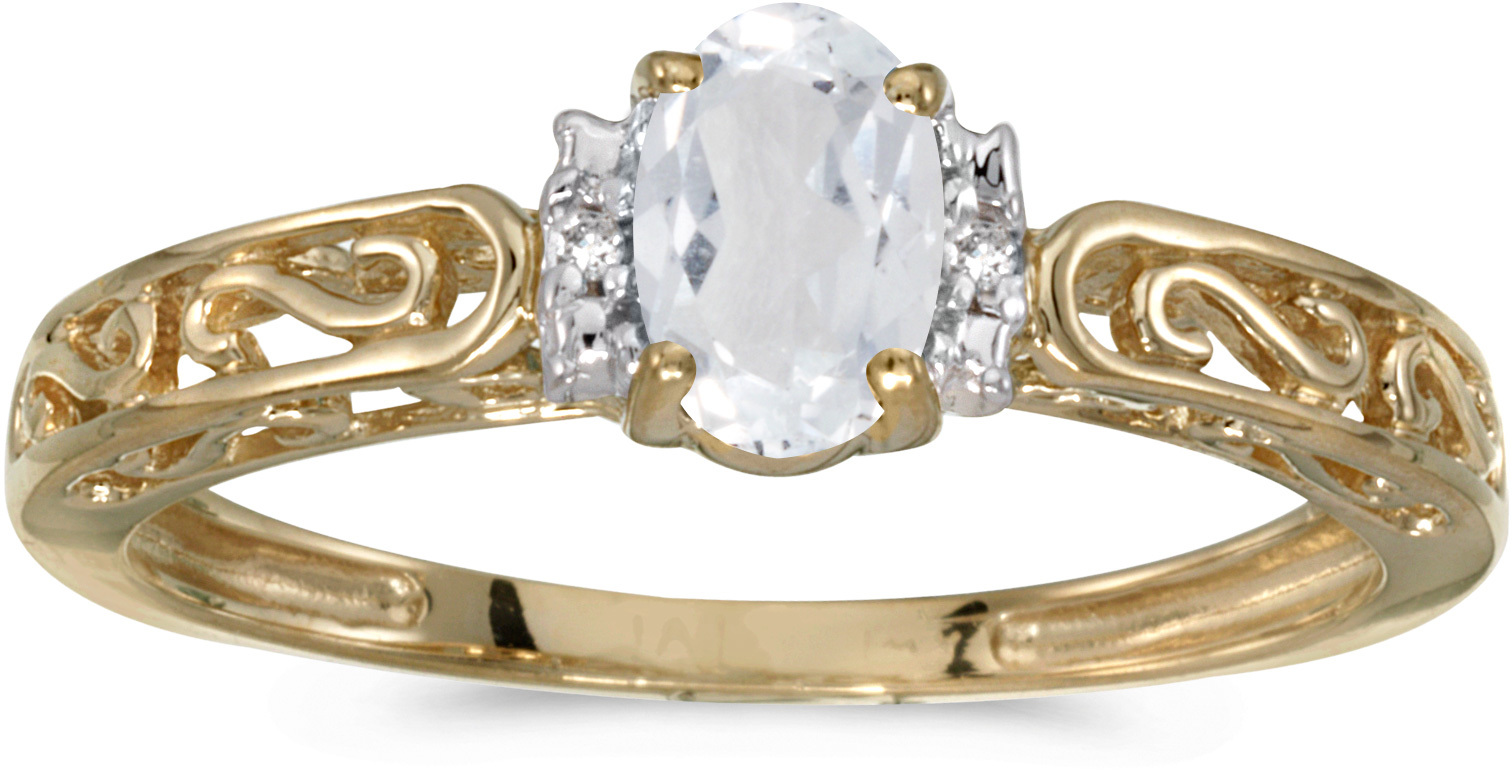 14k Yellow Gold Oval White Topaz And Diamond Ring (CM-RM1689X-04)