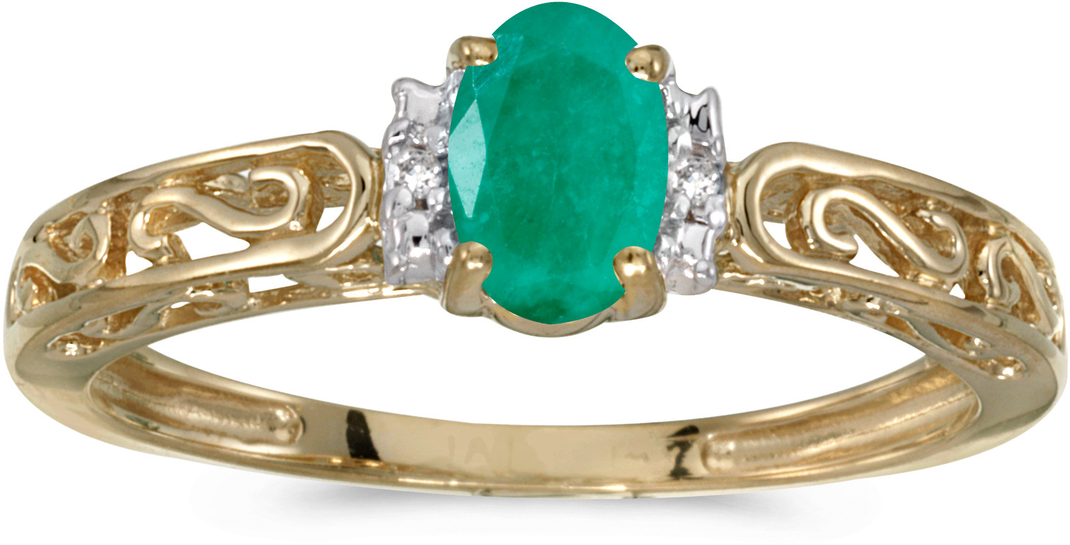 14k Yellow Gold Oval Emerald And Diamond Ring (CM-RM1689X-05)