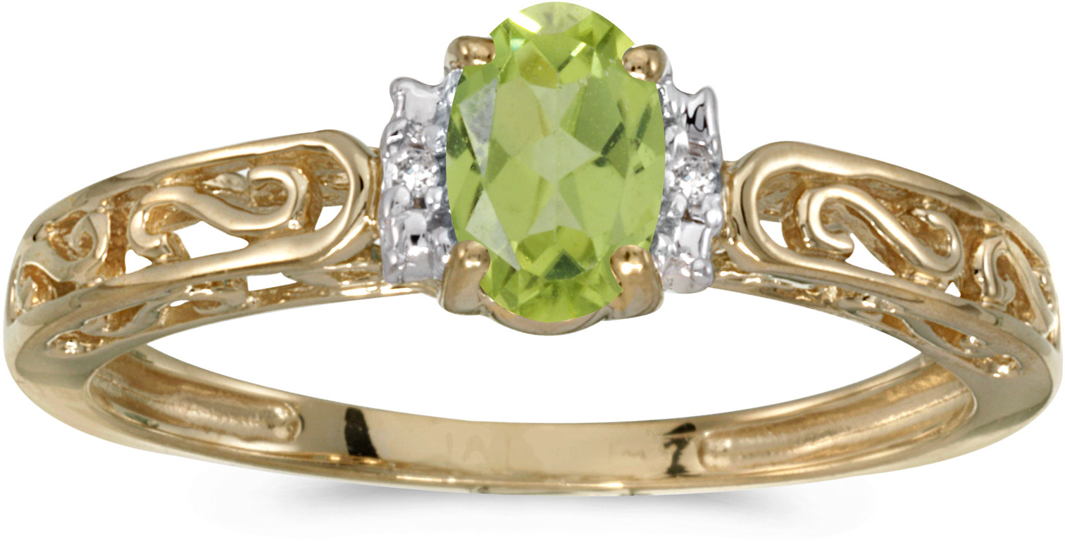 14k Yellow Gold Oval Peridot And Diamond Ring (CM-RM1689X-08)