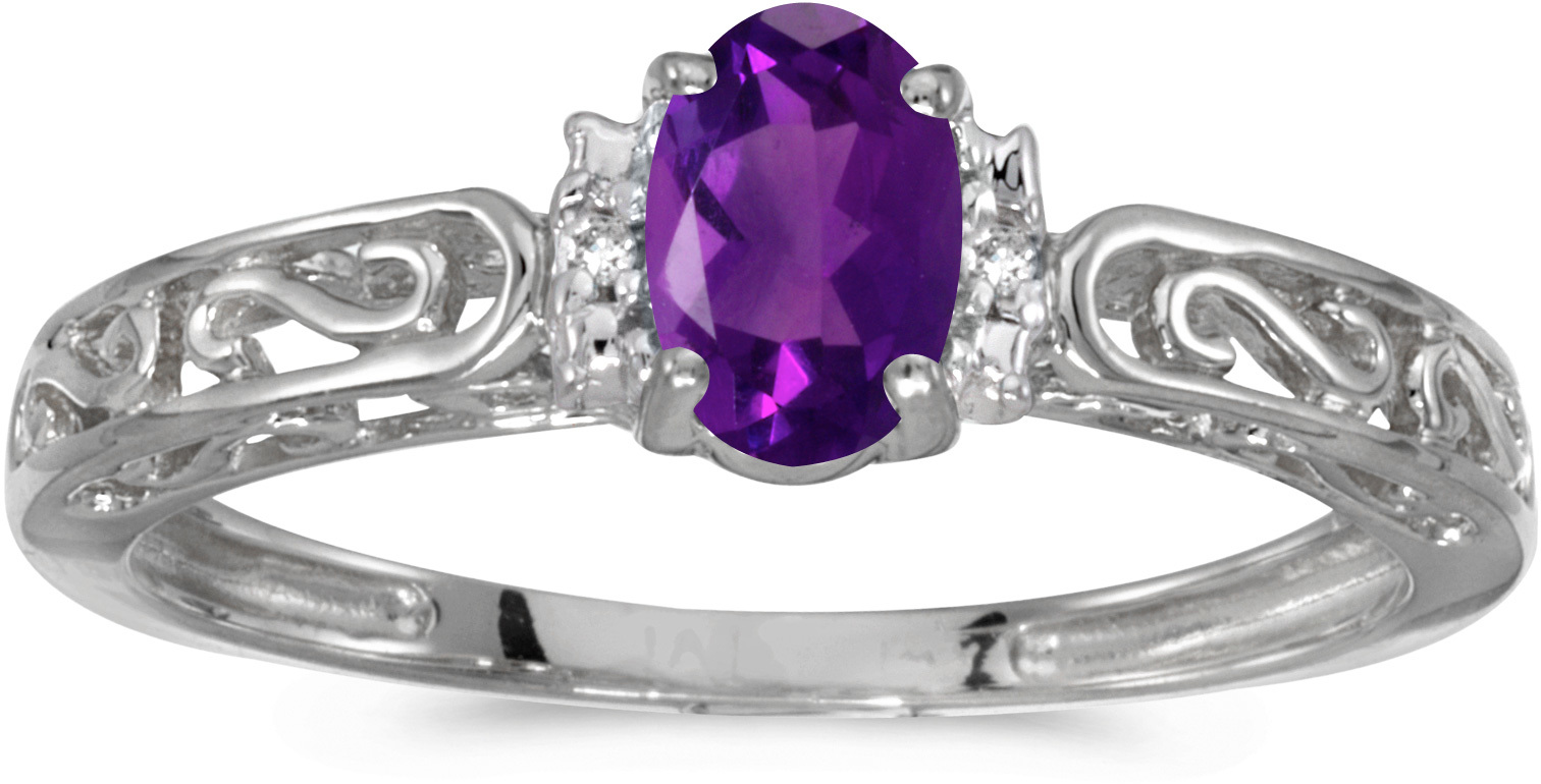 14k White Gold Oval Amethyst And Diamond Ring (CM-RM1689XW-02)