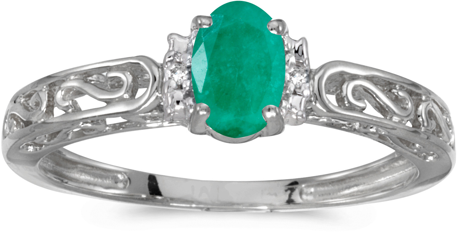 14k White Gold Oval Emerald And Diamond Ring (CM-RM1689XW-05)