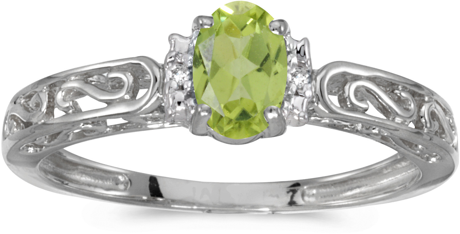 14k White Gold Oval Peridot And Diamond Ring (CM-RM1689XW-08)