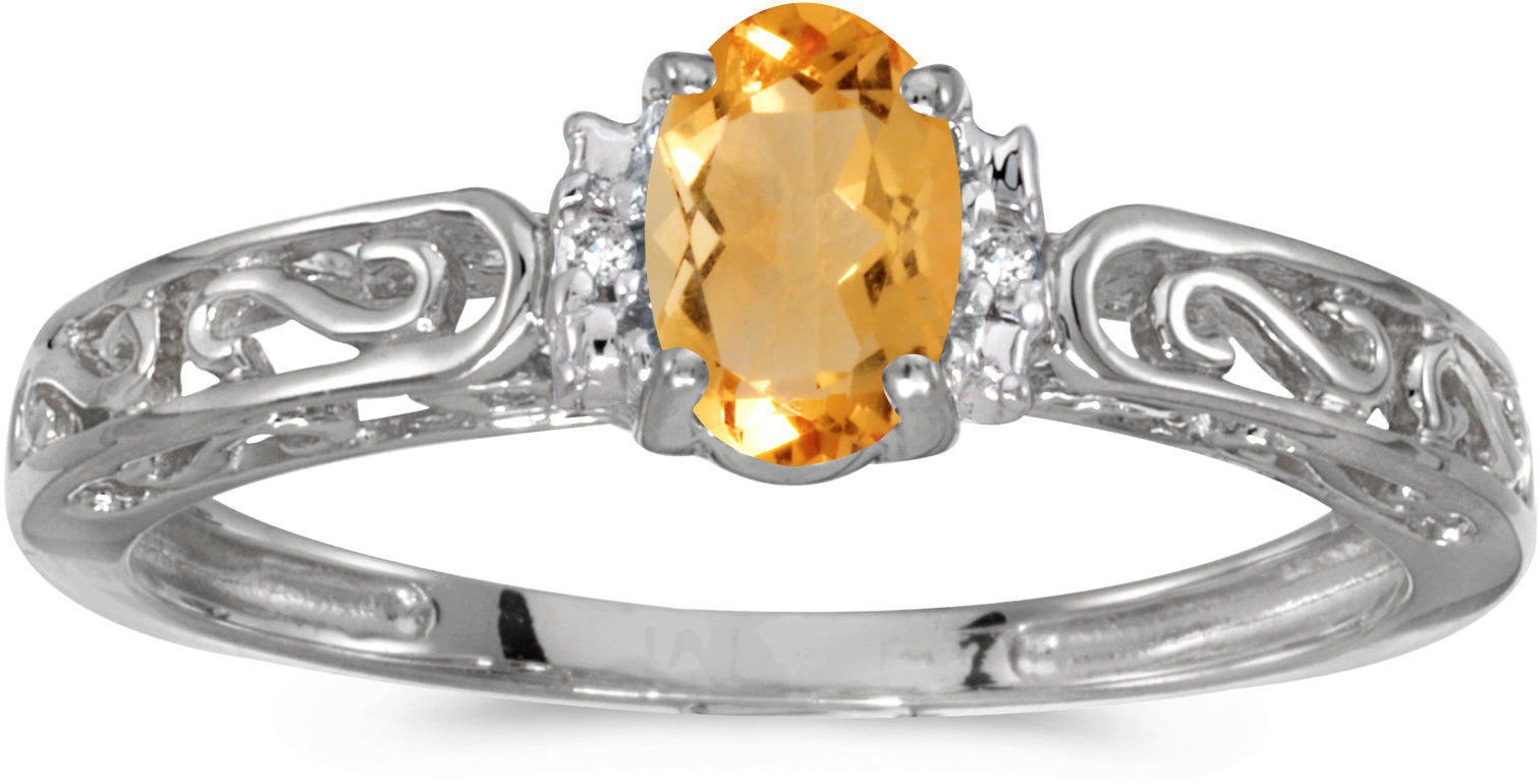 14k White Gold Oval Citrine And Diamond Ring (CM-RM1689XW-11)