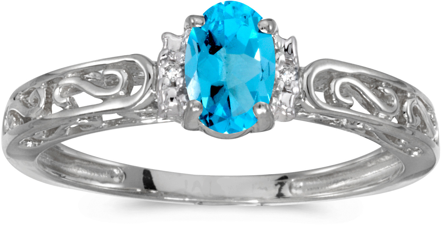 14k White Gold Oval Blue Topaz And Diamond Ring (CM-RM1689XW-12)