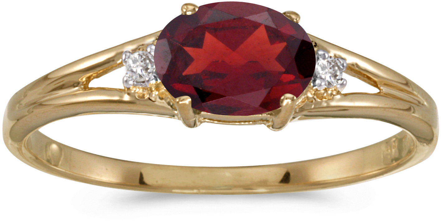 14k Yellow Gold Oval Garnet And Diamond Ring (CM-RM1789X-01)