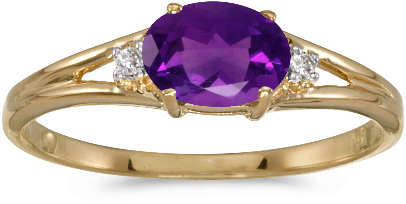 14k Yellow Gold Oval Amethyst And Diamond Ring (CM-RM1789X-02)