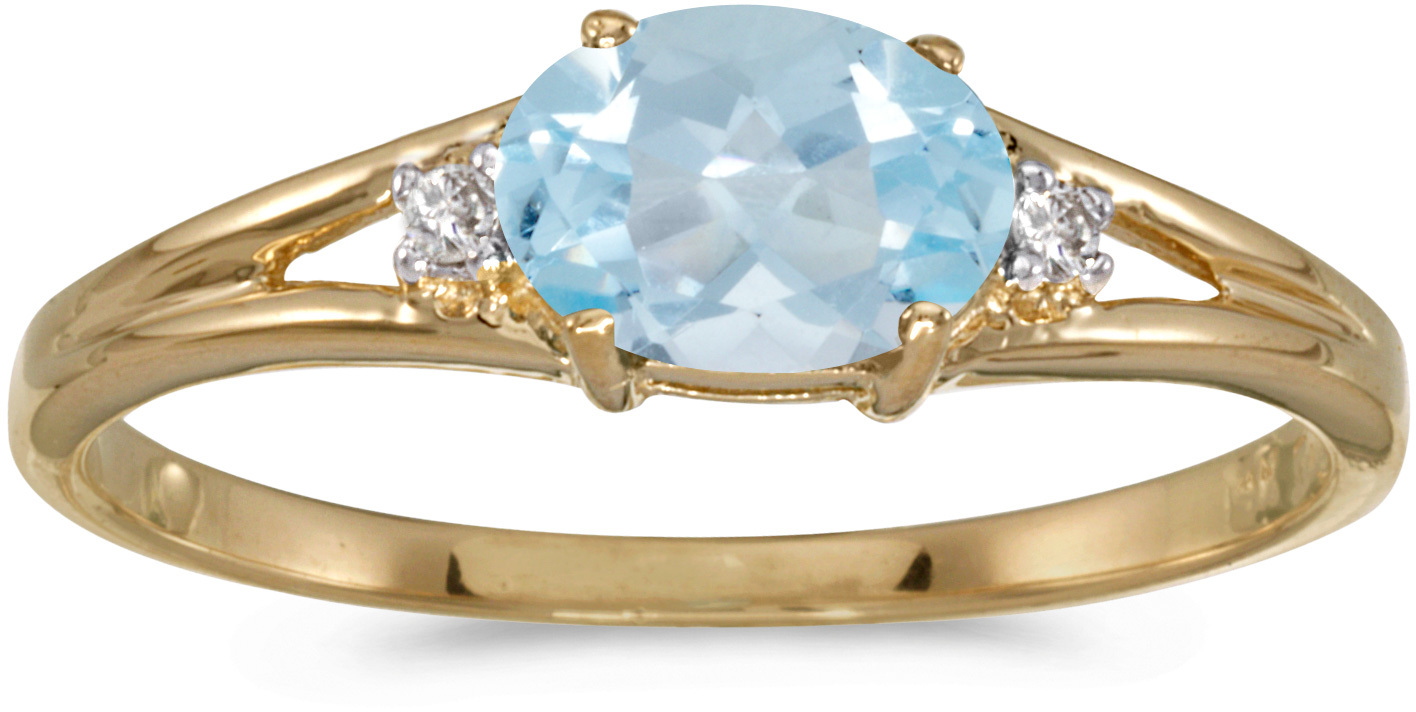 14k Yellow Gold Oval Aquamarine And Diamond Ring (CM-RM1789X-03)