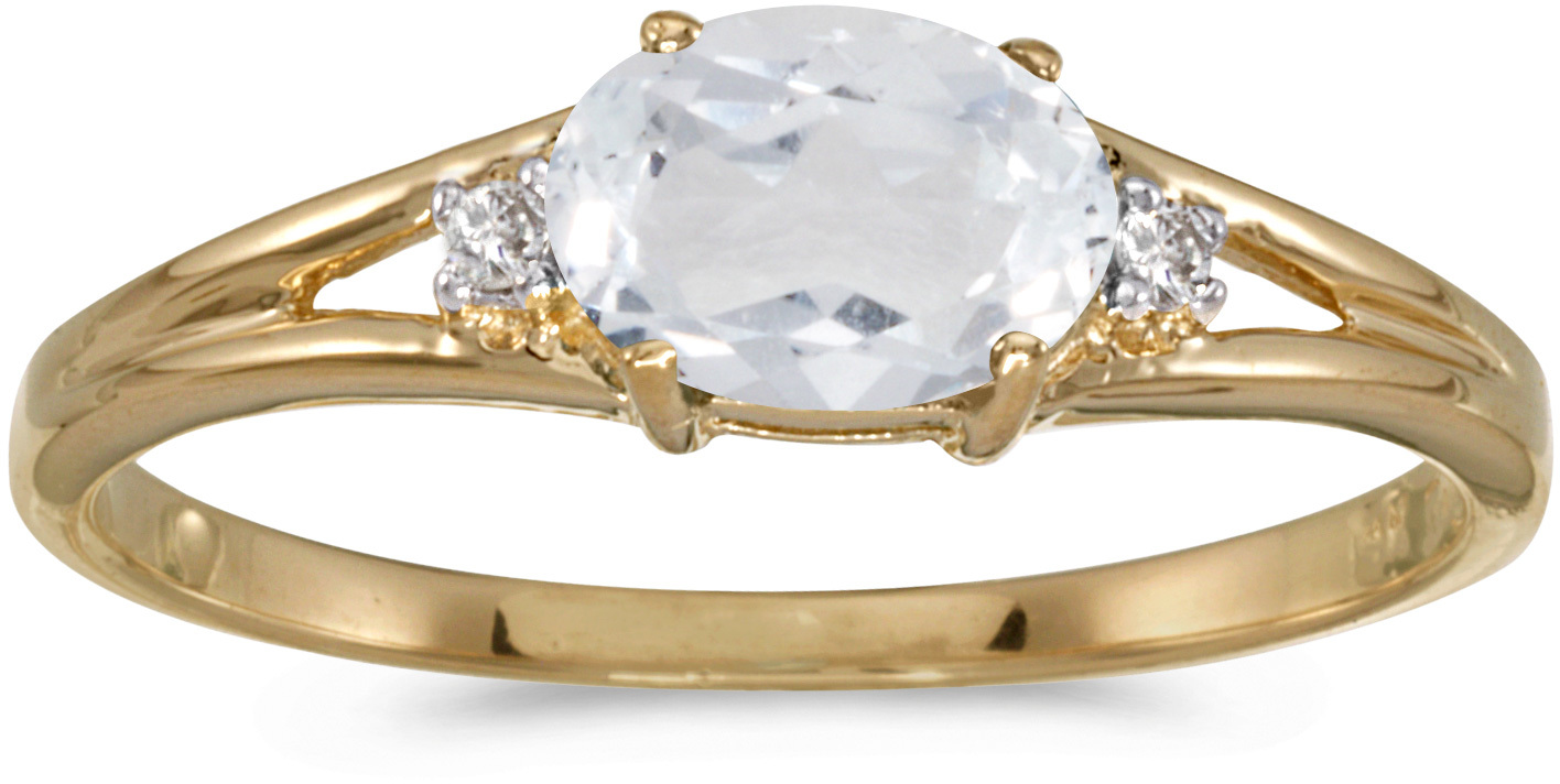 14k Yellow Gold Oval White Topaz And Diamond Ring (CM-RM1789X-04)