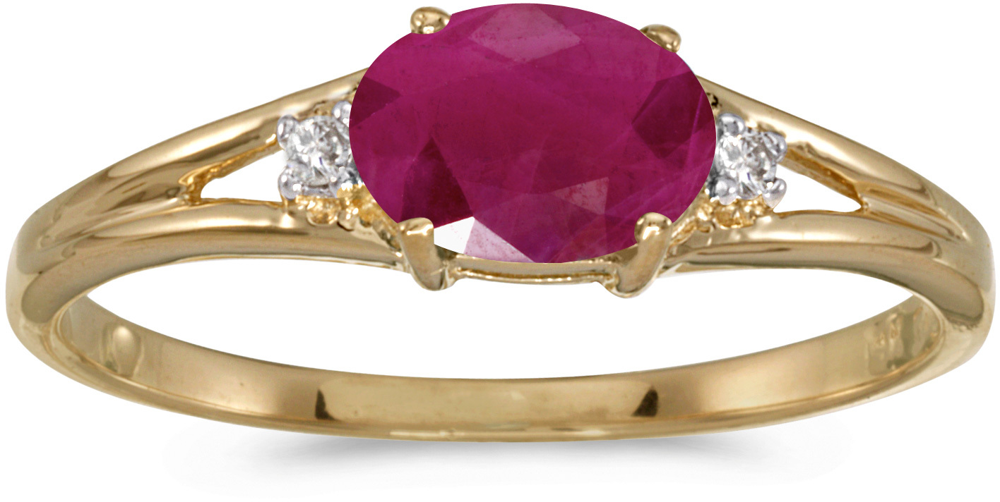 14k Yellow Gold Oval Ruby And Diamond Ring (CM-RM1789X-07)