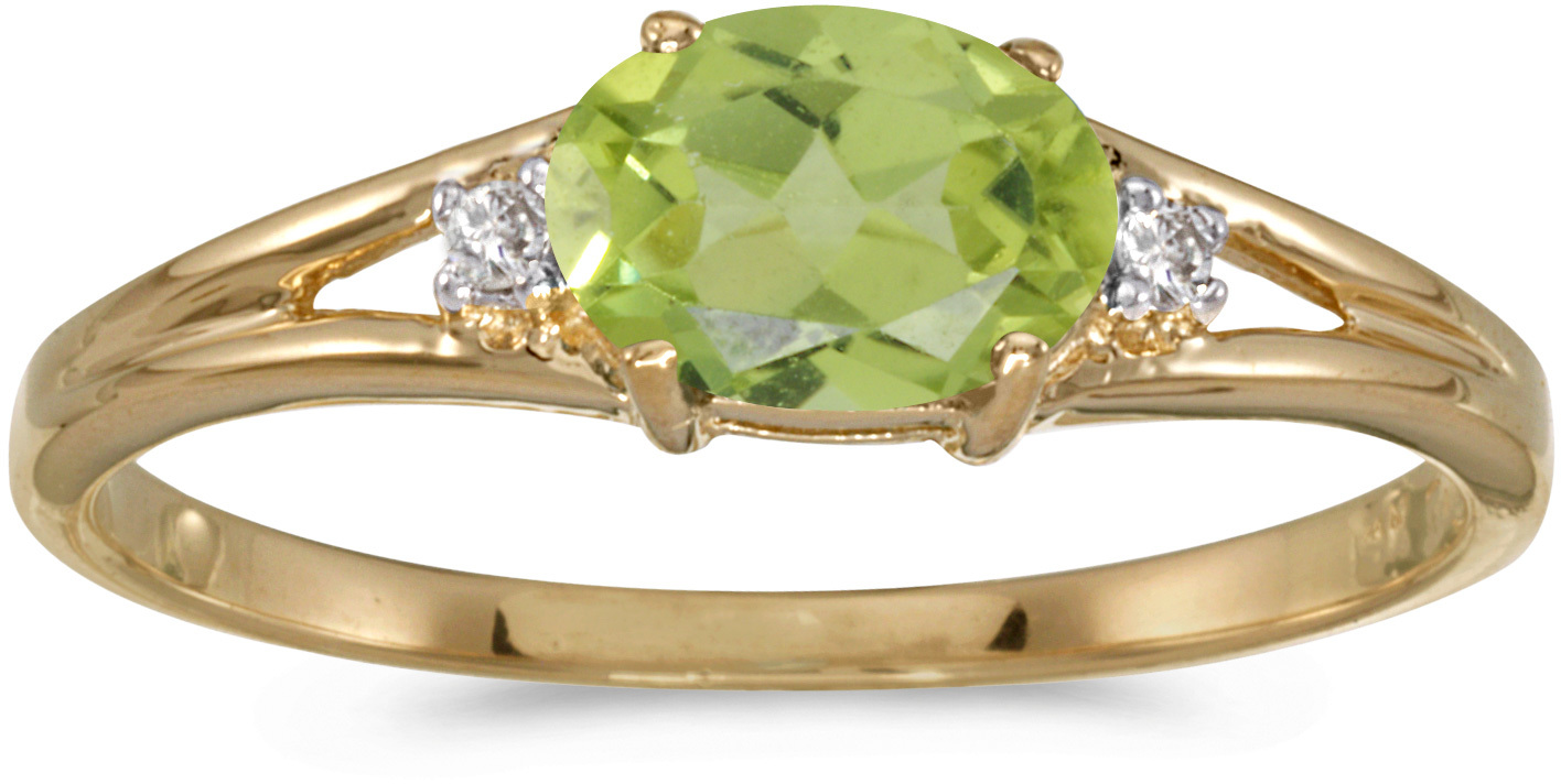 14k Yellow Gold Oval Peridot And Diamond Ring (CM-RM1789X-08)