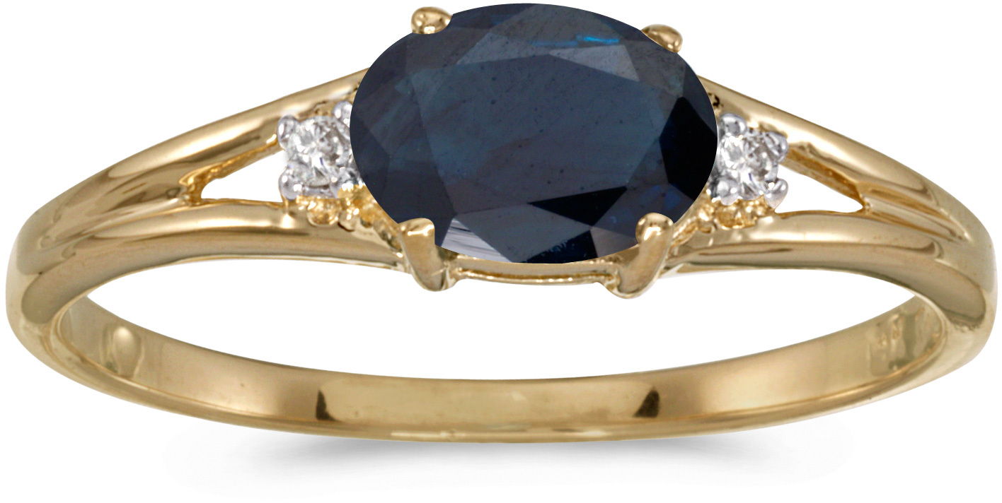 14k Yellow Gold Oval Sapphire And Diamond Ring (CM-RM1789X-09)
