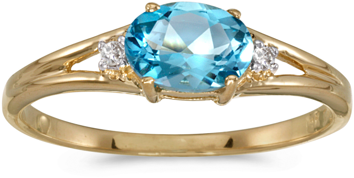 14k Yellow Gold Oval Blue Topaz And Diamond Ring (CM-RM1789X-12)