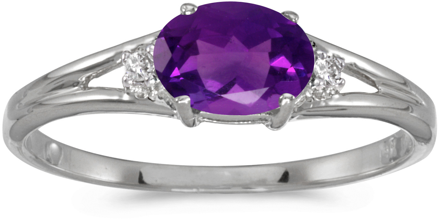 14k White Gold Oval Amethyst And Diamond Ring (CM-RM1789XW-02)
