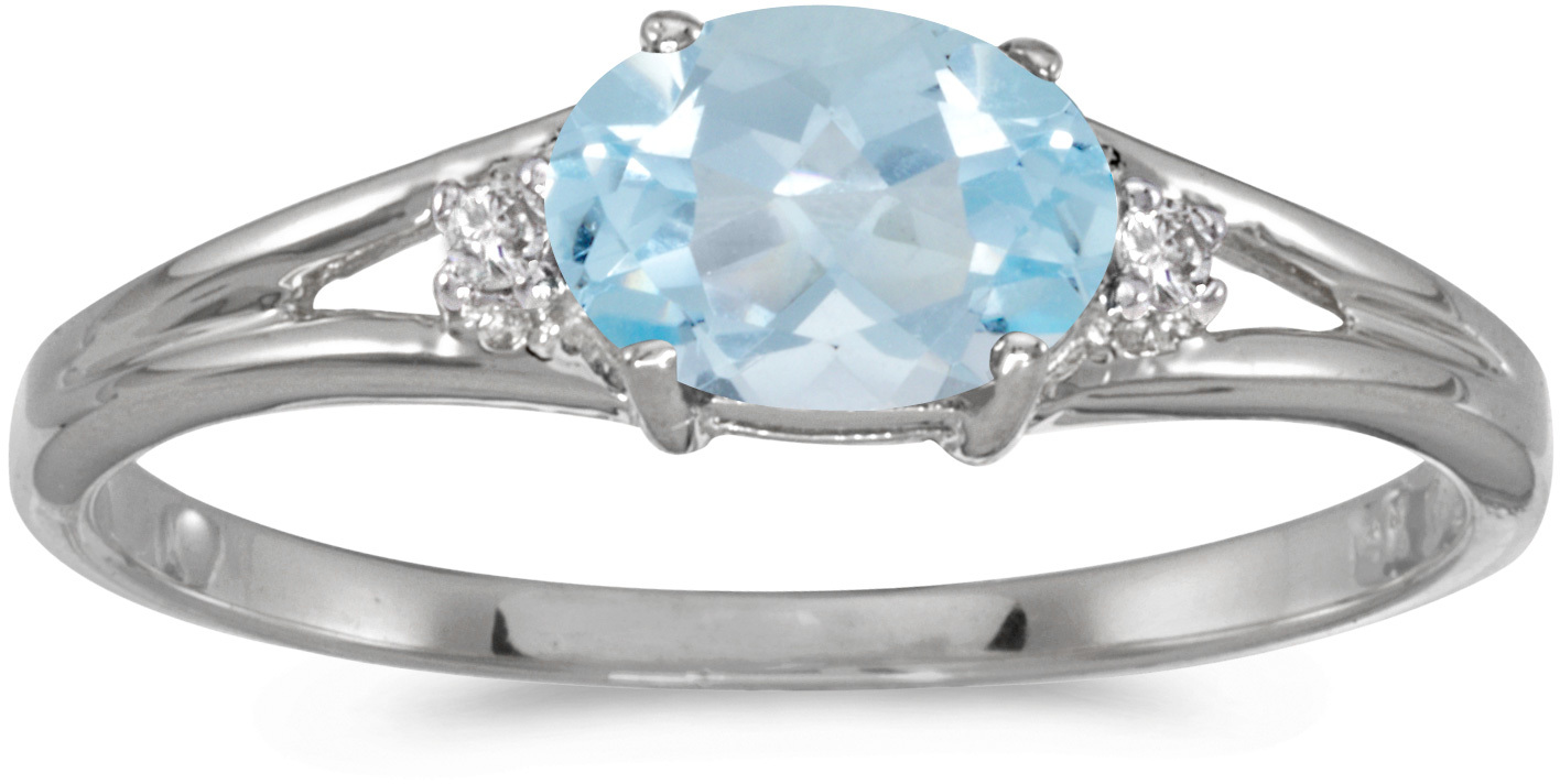 14k White Gold Oval Aquamarine And Diamond Ring (CM-RM1789XW-03)