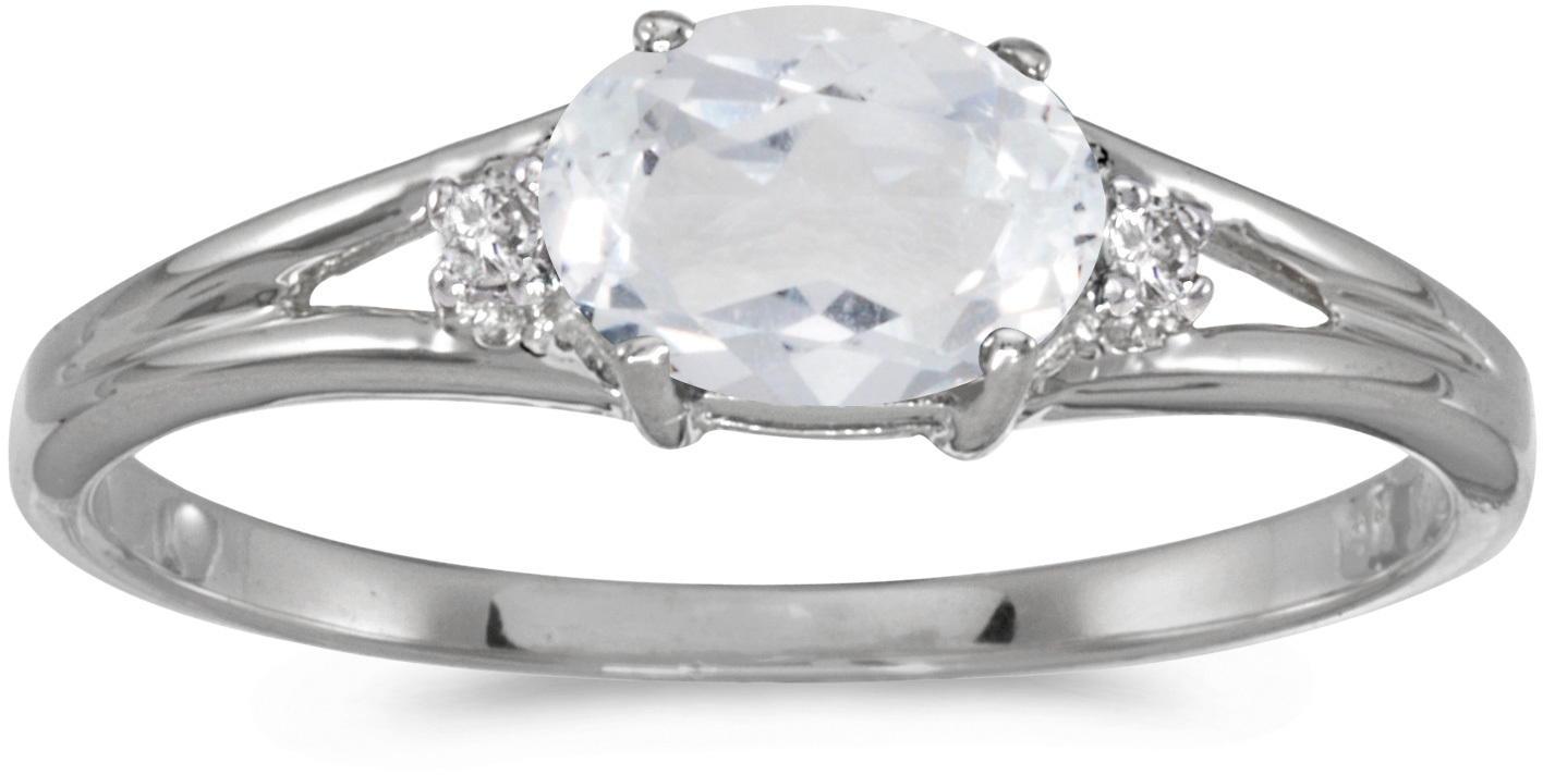 14k White Gold Oval White Topaz And Diamond Ring (CM-RM1789XW-04)