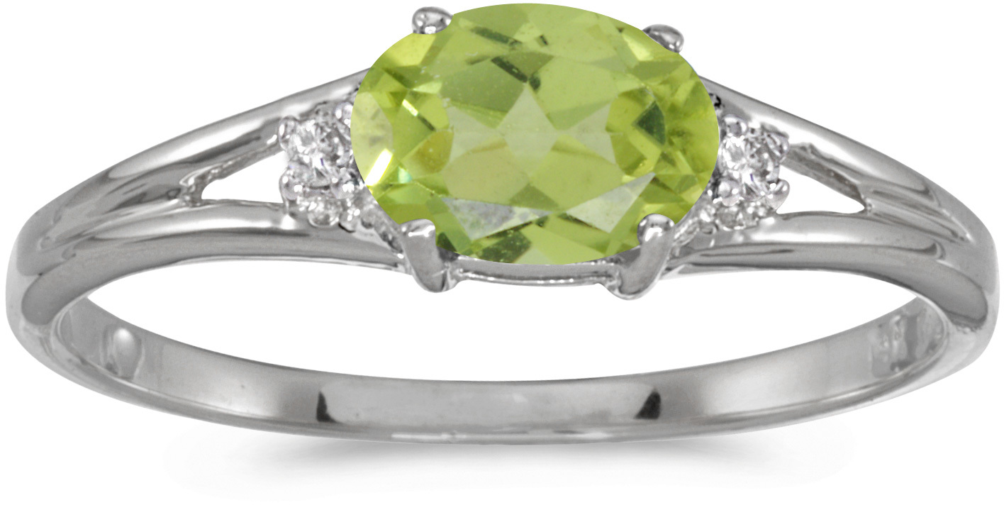 14k White Gold Oval Peridot And Diamond Ring (CM-RM1789XW-08)