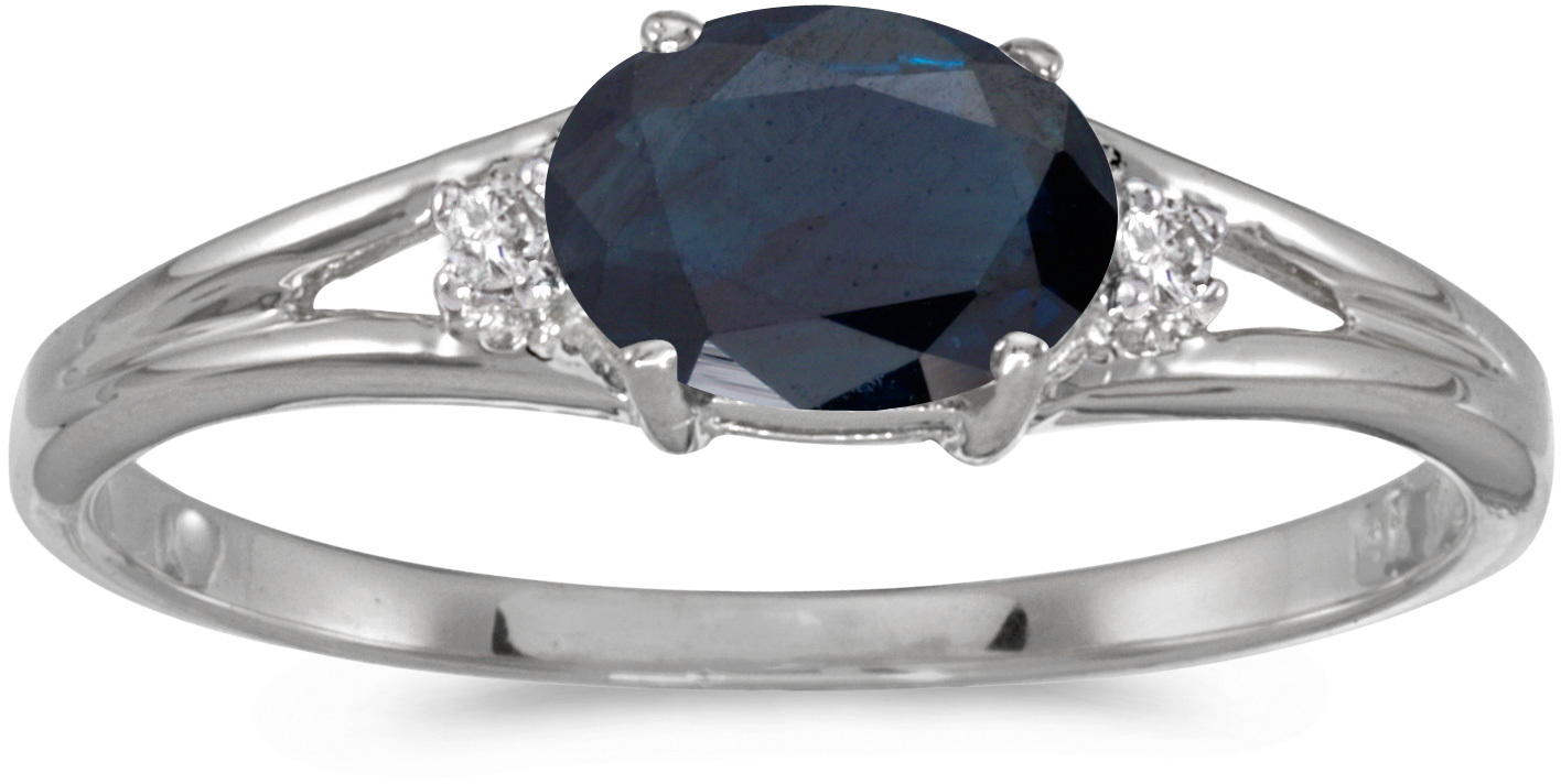 14k White Gold Oval Sapphire And Diamond Ring (CM-RM1789XW-09)