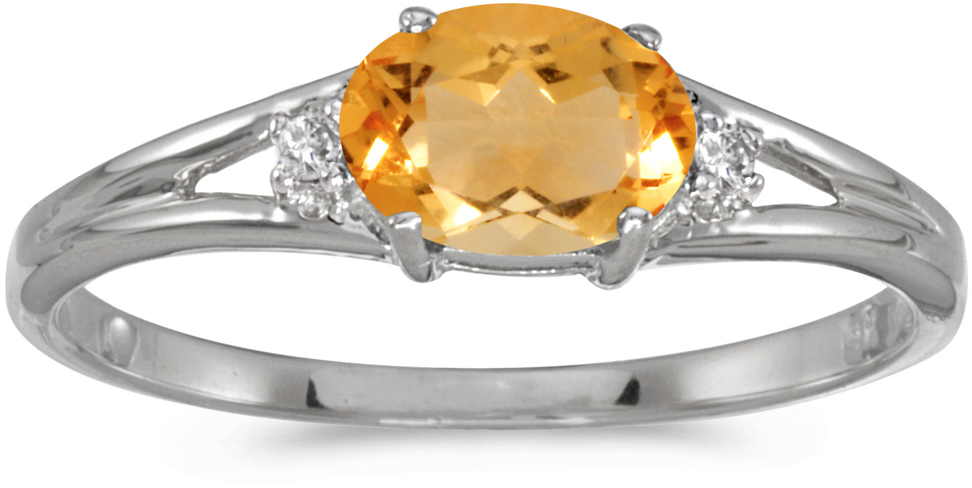 14k White Gold Oval Citrine And Diamond Ring (CM-RM1789XW-11)