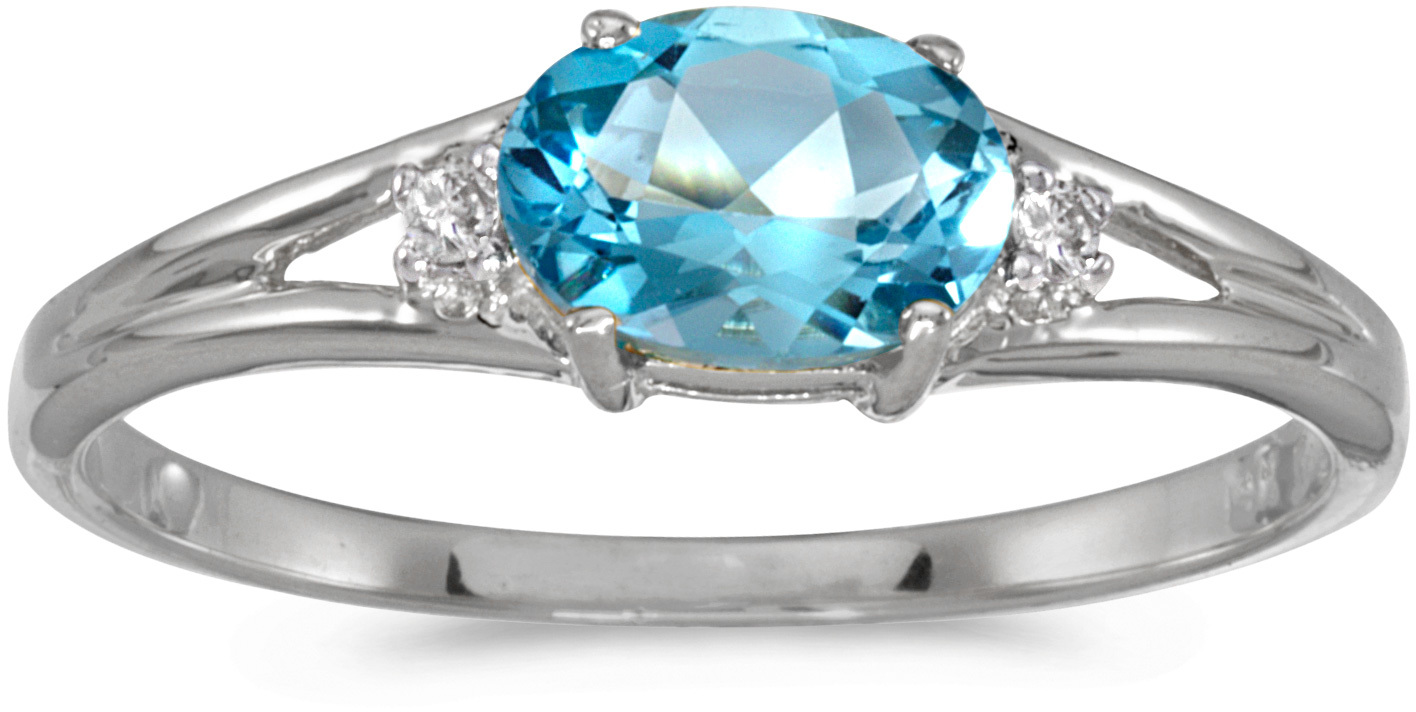 14k White Gold Oval Blue Topaz And Diamond Ring (CM-RM1789XW-12)