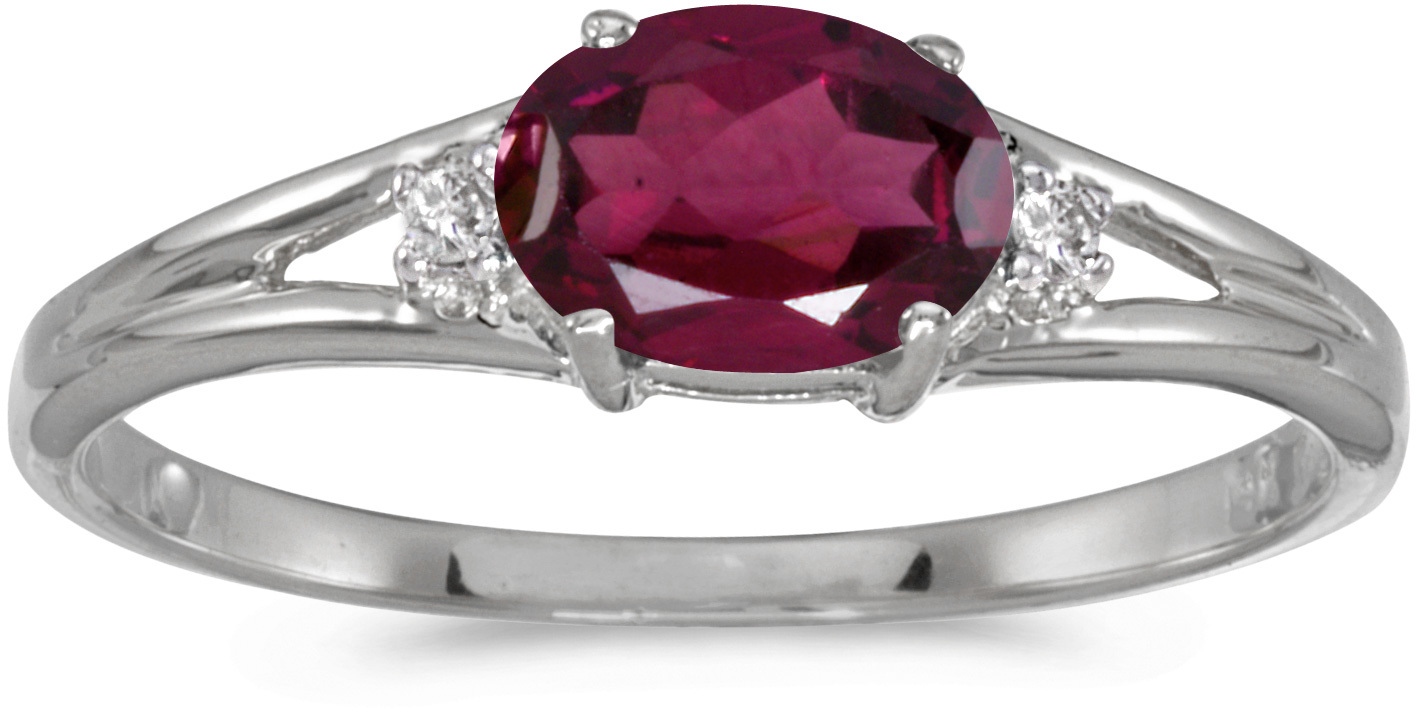 14k White Gold Oval Rhodolite Garnet And Diamond Ring (CM-RM1789XW-RG)