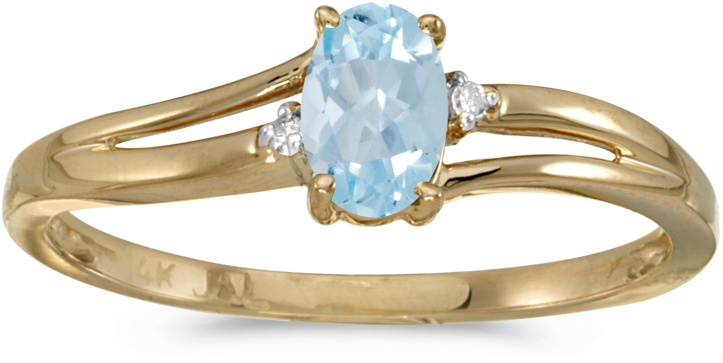 14k Yellow Gold Oval Aquamarine And Diamond Ring (CM-RM1992X-03)