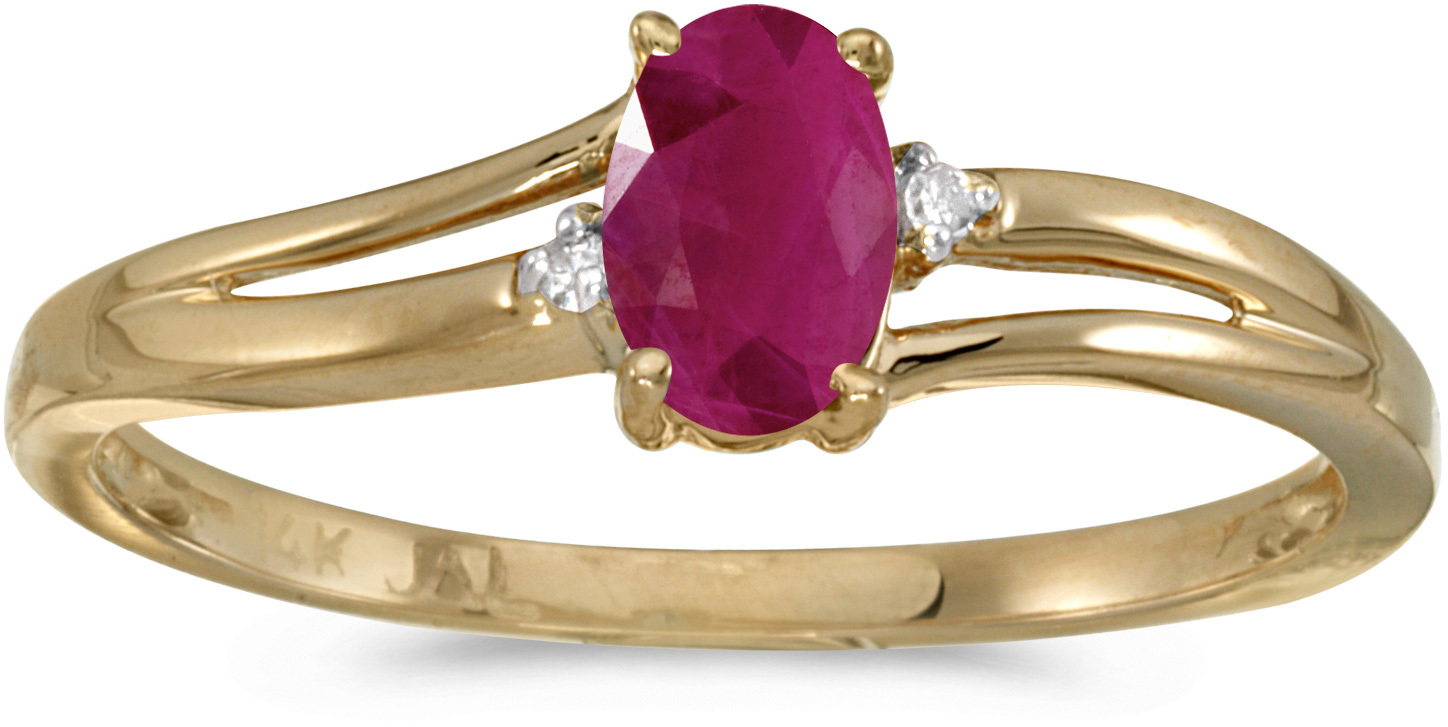 14k Yellow Gold Oval Ruby And Diamond Ring (CM-RM1992X-07)