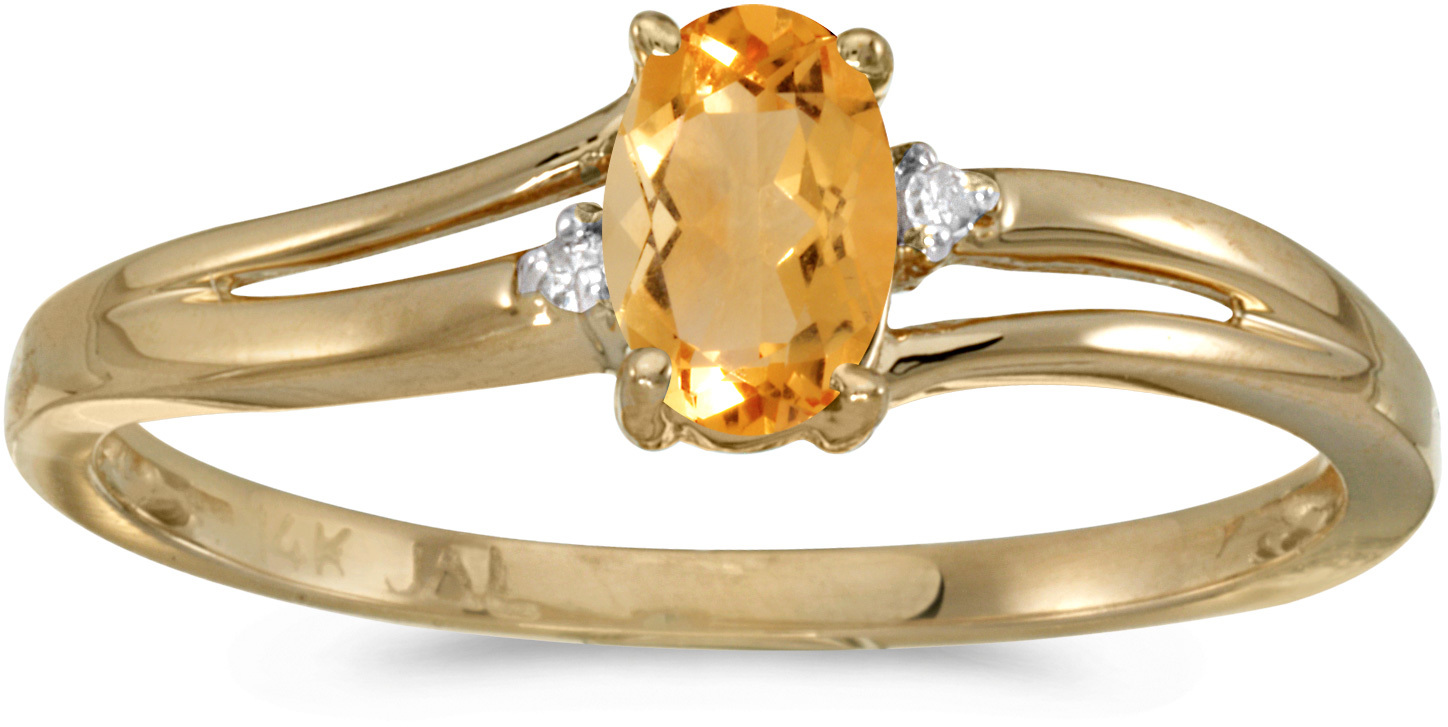 14k Yellow Gold Oval Citrine And Diamond Ring (CM-RM1992X-11)
