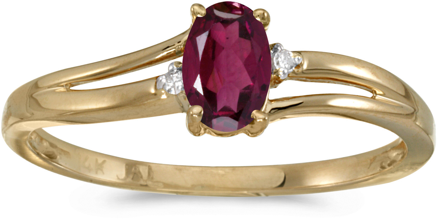 14k Yellow Gold Oval Rhodolite Garnet And Diamond Ring (CM-RM1992X-RG)