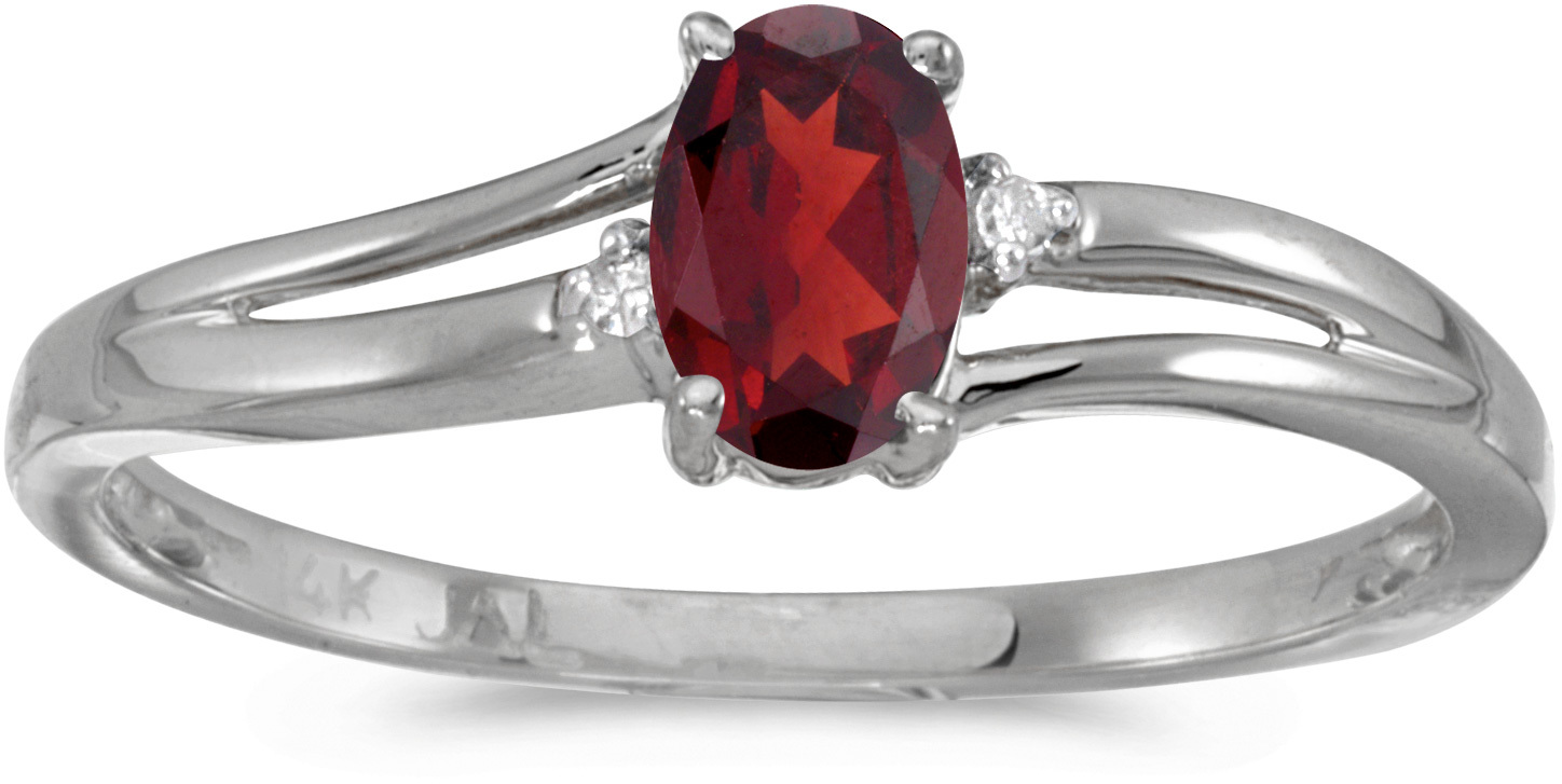 14k White Gold Oval Garnet And Diamond Ring (CM-RM1992XW-01)