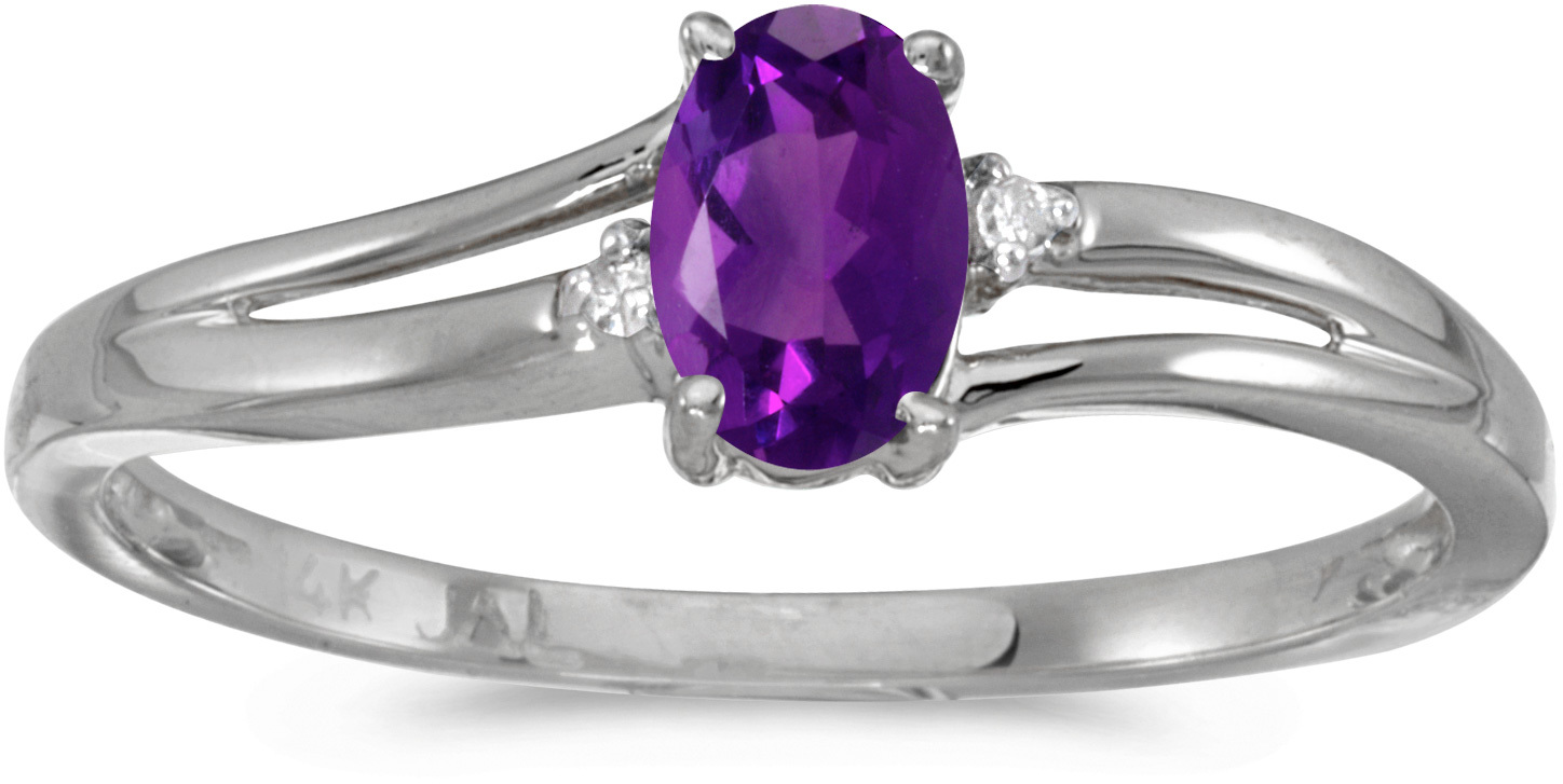 14k White Gold Oval Amethyst And Diamond Ring (CM-RM1992XW-02)