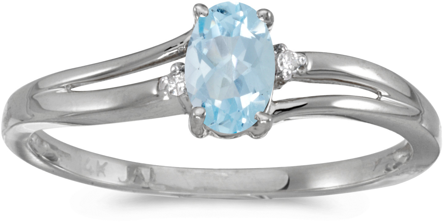 14k White Gold Oval Aquamarine And Diamond Ring (CM-RM1992XW-03)