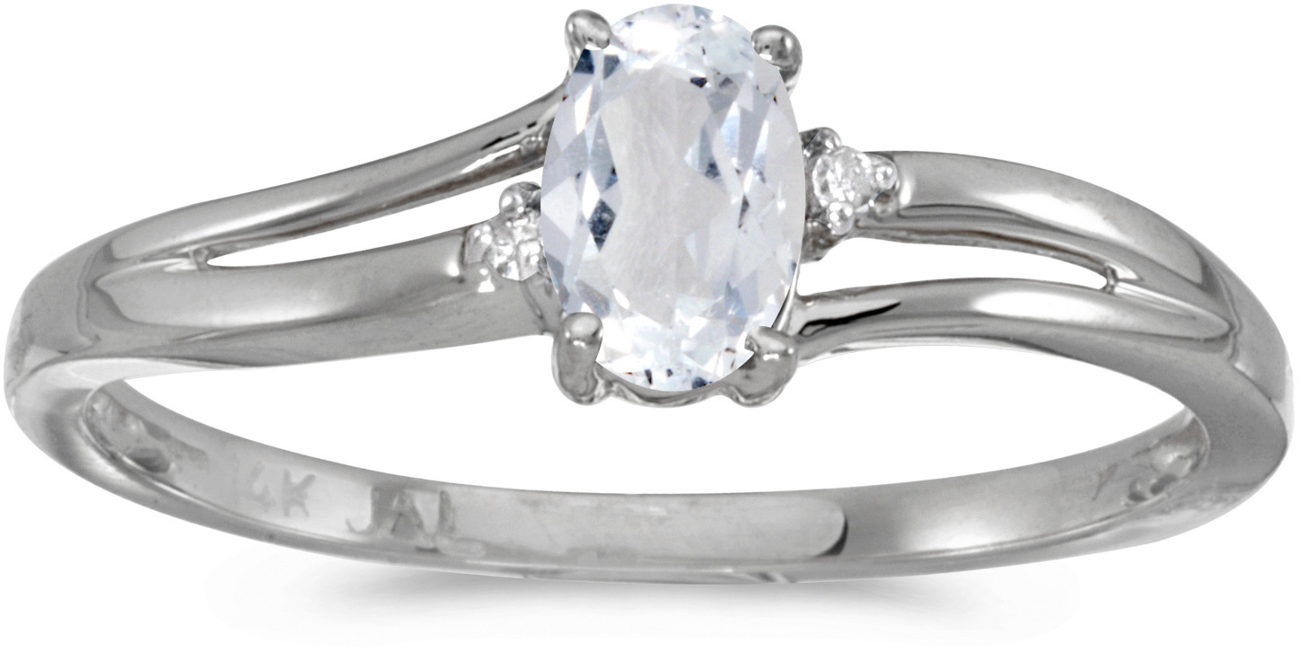 14k White Gold Oval White Topaz And Diamond Ring (CM-RM1992XW-04)