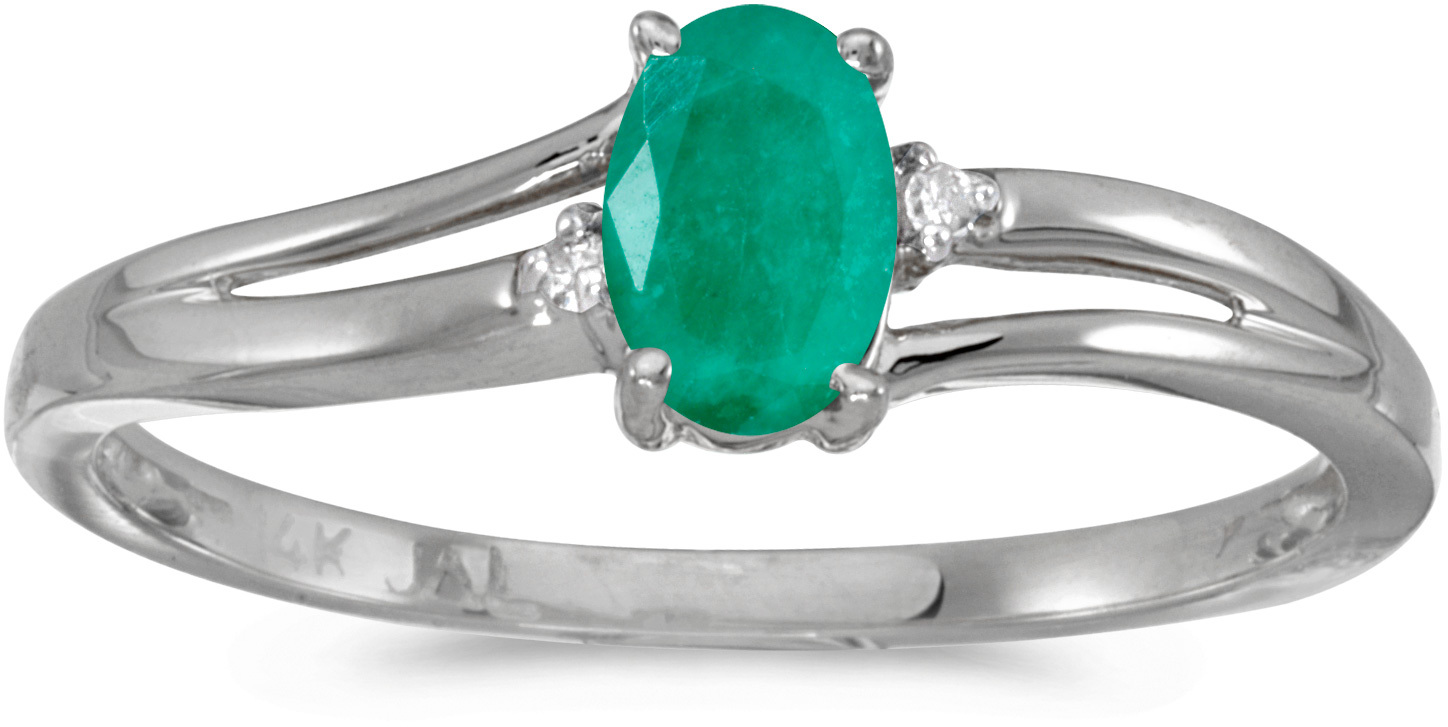 14k White Gold Oval Emerald And Diamond Ring (CM-RM1992XW-05)
