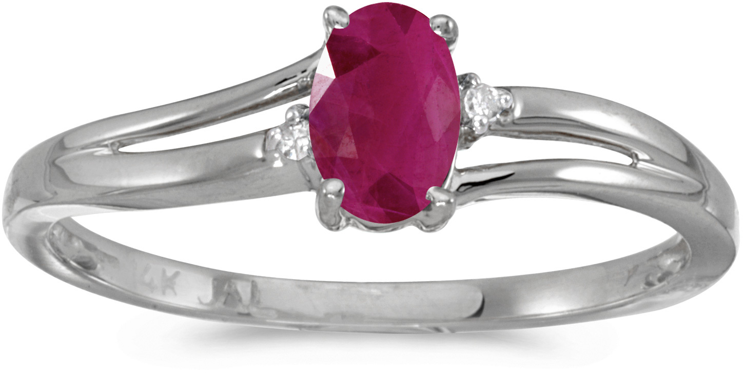 14k White Gold Oval Ruby And Diamond Ring (CM-RM1992XW-07)